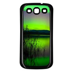 Green Northern Lights Canada Samsung Galaxy S3 Back Case (black) by Sapixe