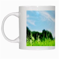 Green Landscape, Green Grass Close Up Blue Sky And White Clouds White Mugs