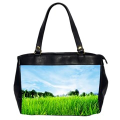 Green Landscape, Green Grass Close Up Blue Sky And White Clouds Office Handbags (2 Sides)  by Sapixe