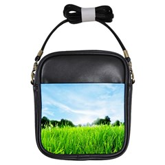 Green Landscape, Green Grass Close Up Blue Sky And White Clouds Girls Sling Bags