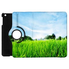 Green Landscape, Green Grass Close Up Blue Sky And White Clouds Apple Ipad Mini Flip 360 Case