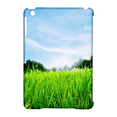 Green Landscape, Green Grass Close Up Blue Sky And White Clouds Apple Ipad Mini Hardshell Case (compatible With Smart Cover) by Sapixe
