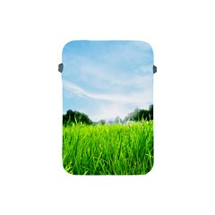 Green Landscape, Green Grass Close Up Blue Sky And White Clouds Apple Ipad Mini Protective Soft Cases by Sapixe