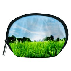 Green Landscape, Green Grass Close Up Blue Sky And White Clouds Accessory Pouches (medium)  by Sapixe