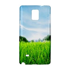 Green Landscape, Green Grass Close Up Blue Sky And White Clouds Samsung Galaxy Note 4 Hardshell Case by Sapixe