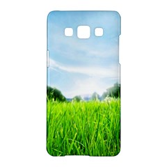 Green Landscape, Green Grass Close Up Blue Sky And White Clouds Samsung Galaxy A5 Hardshell Case  by Sapixe
