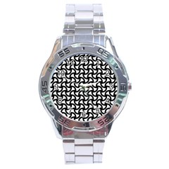 Grid Pattern Background Geometric Stainless Steel Analogue Watch by Sapixe