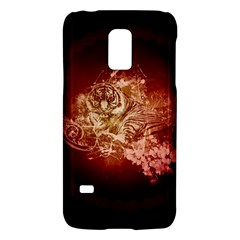 Wonderful Tiger With Flowers And Grunge Galaxy S5 Mini by FantasyWorld7