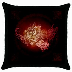 Wonderful Tiger With Flowers And Grunge Throw Pillow Case (black) by FantasyWorld7