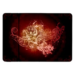 Wonderful Tiger With Flowers And Grunge Samsung Galaxy Tab 8 9  P7300 Flip Case by FantasyWorld7