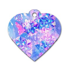 Flower Of Life Pattern Painting Blue Dog Tag Heart (two Sides) by Cveti