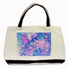 Flower Of Life Pattern Painting Blue Basic Tote Bag (two Sides) by Cveti