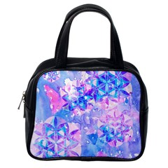 Flower Of Life Pattern Painting Blue Classic Handbags (one Side)