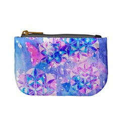 Flower Of Life Pattern Painting Blue Mini Coin Purses by Cveti