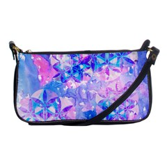 Flower Of Life Pattern Painting Blue Shoulder Clutch Bags by Cveti