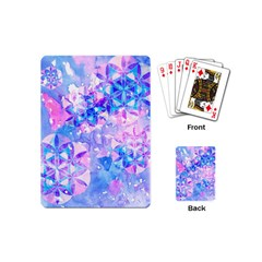 Flower Of Life Pattern Painting Blue Playing Cards (mini)  by Cveti