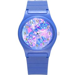 Flower Of Life Pattern Painting Blue Round Plastic Sport Watch (s) by Cveti