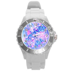 Flower Of Life Pattern Painting Blue Round Plastic Sport Watch (l) by Cveti