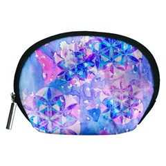Flower Of Life Pattern Painting Blue Accessory Pouches (medium)  by Cveti