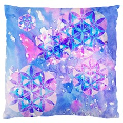 Flower Of Life Pattern Painting Blue Standard Flano Cushion Case (one Side) by Cveti