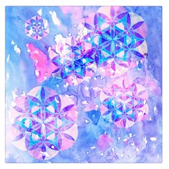 Flower Of Life Pattern Painting Blue Large Satin Scarf (square) by Cveti
