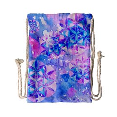 Flower Of Life Pattern Painting Blue Drawstring Bag (small)