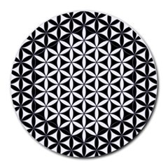 Flower Of Life Hexagon Cube 4 Round Mousepads by Cveti