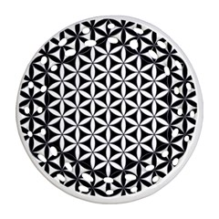 Flower Of Life Hexagon Cube 4 Round Filigree Ornament (two Sides) by Cveti