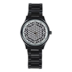 Flower Of Life Hexagon Cube 4 Stainless Steel Round Watch by Cveti