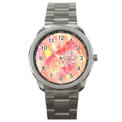 Flower Of Life Pattern Pink Sport Metal Watch by Cveti