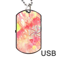Flower Of Life Pattern Pink Dog Tag Usb Flash (one Side)