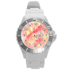 Flower Of Life Pattern Pink Round Plastic Sport Watch (l) by Cveti