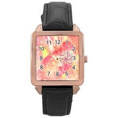 Flower Of Life Pattern Pink Rose Gold Leather Watch