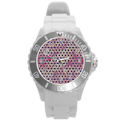 Asterisk Pattern Sacred Geometry 2 Round Plastic Sport Watch (l) by Cveti