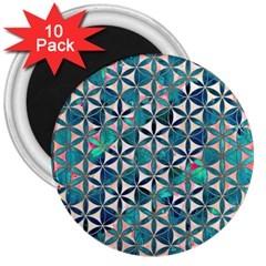 Flower Of Life, Paint, Turquoise, Pattern, 3  Magnets (10 Pack)  by Cveti