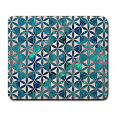 Flower Of Life, Paint, Turquoise, Pattern, Large Mousepads by Cveti