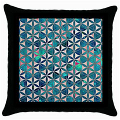 Flower Of Life, Paint, Turquoise, Pattern, Throw Pillow Case (black) by Cveti