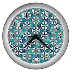 Flower Of Life, Paint, Turquoise, Pattern, Wall Clocks (silver)  by Cveti