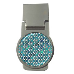 Flower Of Life, Paint, Turquoise, Pattern, Money Clips (round)  by Cveti