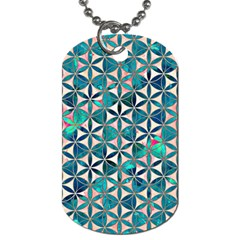Flower Of Life, Paint, Turquoise, Pattern, Dog Tag (one Side) by Cveti