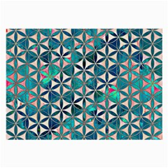 Flower Of Life, Paint, Turquoise, Pattern, Large Glasses Cloth (2 Side) by Cveti