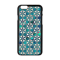 Flower Of Life, Paint, Turquoise, Pattern, Apple Iphone 6/6s Black Enamel Case by Cveti