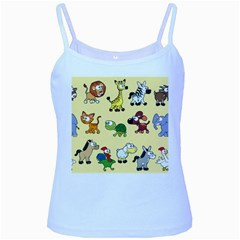 Group Of Animals Graphic Baby Blue Spaghetti Tank by Sapixe