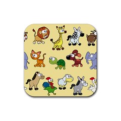 Group Of Animals Graphic Rubber Square Coaster (4 Pack)  by Sapixe