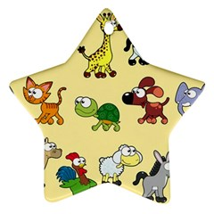 Group Of Animals Graphic Star Ornament (two Sides) by Sapixe