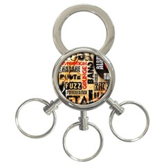 Guitar Typography 3 Ring Key Chains by Sapixe