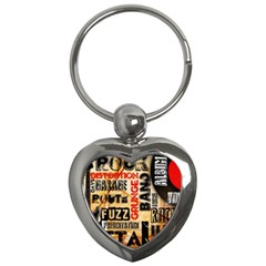 Guitar Typography Key Chains (heart)  by Sapixe