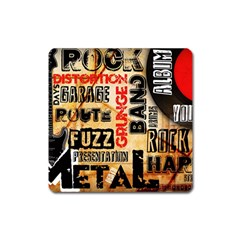 Guitar Typography Square Magnet by Sapixe