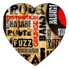 Guitar Typography Jigsaw Puzzle (heart) by Sapixe