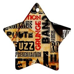 Guitar Typography Star Ornament (two Sides) by Sapixe